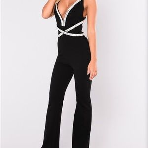 fashion nova Jumpsuit with crystals
